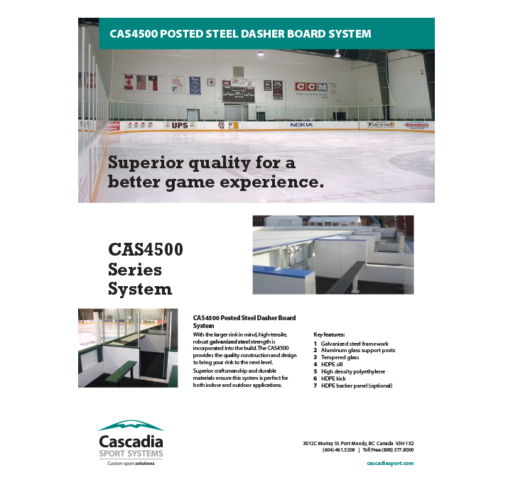 CAS4500 Posted Steel Dasher Board System